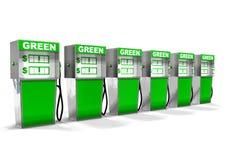 Rij van Groene Benzinepompen Stock Foto