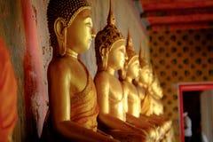 Rij van het gouden standbeeld van Boedha in Wat Arun, Bangkok Thailand Landm Stock Afbeelding