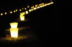 Rij van kaarsen Stock Afbeeldingen