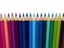 Rij van kleurenpotloden Stock Afbeeldingen