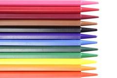 Rij van kleurpotloden Stock Afbeeldingen