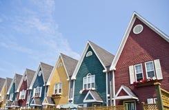 Rij van Kleurrijke Huizen Royalty-vrije Stock Foto's