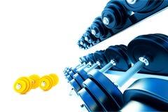 Rij van metaal dumbells met oranje domoren op witte achtergrond Royalty-vrije Stock Foto