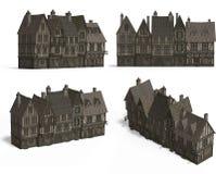 Rij van Middeleeuwse Huizen Royalty-vrije Stock Afbeeldingen