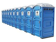 Rij van mobiele draagbare blauwe plastic toiletten Royalty-vrije Stock Foto