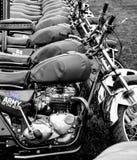 Rij van motorfietsen royalty-vrije stock afbeelding