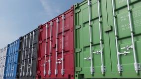 Rij van multicolored ladingscontainers tegen blauwe hemel het 3d teruggeven Royalty-vrije Stock Foto's