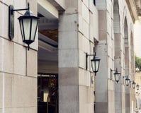 Rij van oud muurlicht met klassieke stijl, uitstekende muurlamp, de oude lamp van de manier decoratieve muur Stock Afbeelding