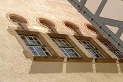 Rij van oude vensters, Sigmaringen Stock Afbeelding