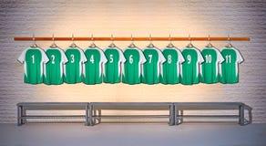Rij van Overhemden 1-11 van Groene en Voetbaloverhemden Royalty-vrije Stock Afbeelding