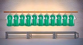 Rij van Overhemden 3-5 van Groene en Voetbaloverhemden Royalty-vrije Stock Afbeeldingen