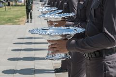 Rij van politie Stock Foto