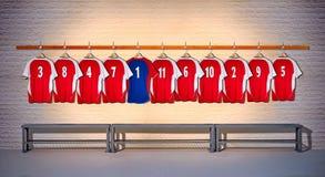 Rij van Rode en Blauwe Overhemden 3-5 van Voetbaloverhemden Royalty-vrije Stock Foto
