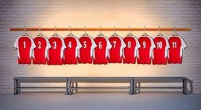 Rij van Rode Overhemden 1-11 van Voetbaloverhemden Stock Fotografie