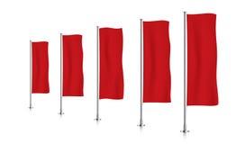 Rij van rode verticale bannervlaggen Royalty-vrije Stock Fotografie