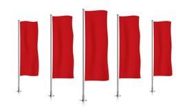 Rij van rode verticale bannervlaggen Stock Afbeeldingen