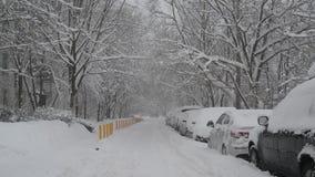 Rij van snow-covered auto's langs de stoep dichtbij huis Moskou, Rusland stock footage