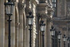 Rij van straatlantaarns in Parijs Frankrijk Stock Afbeelding