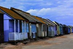 Rij van strandhutten Royalty-vrije Stock Foto's