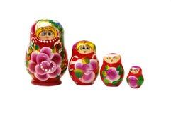 Rij van vier Russische poppen Stock Afbeelding