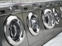 Rij van wasmachines in openbare laundromat Royalty-vrije Stock Fotografie