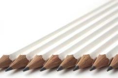 Rij van witte potloden Stock Foto