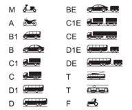 Rijbewijzen voor verschillende wegvoertuigen Stock Foto's