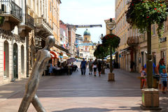 Rijeka, Ð¡roatia. August 21, 2016: Modern statue of a walking man on the Korzo in Rijeka, Croatia. Korzo is the most famous street in Rijeka. Rijeka is stock image