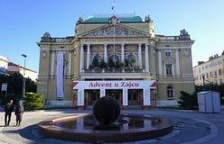 Rijeka, Κροατία, Decembar 29, 2018 Η οικοδόμηση του κροατικού εθνικού θεάτρου στο Rijeka κατά τη διάρκεια του χρόνου εμφάνισης στοκ εικόνες