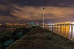 Rijeka bis zum Nacht Stockfotografie