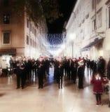 Rijeka, Chorwacja, Grudzień 12, 2018 Muzycy na ulicie Chorwacki grodzki Rijeka przy Bożenarodzeniowym czasem zdjęcie royalty free