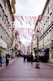 RIJEKA CHORWACJA, MARZEC, - 02: główna ulica podczas karnawałowej parady w Rijeka, Chorwacja na Marzec Zdjęcia Stock