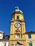 Rijeka city clock tower with two headed eagle royalty free stock image
