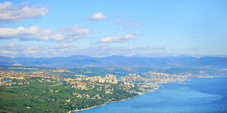Rijeka city, Croatia. Landscape with Rijeka city, Alps mountains and Adriatic sea. Croatia stock photo