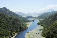 Rijeka crnojevica Montenegro River and Mountains royalty free stock images