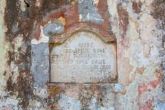 Memorial marble table on on old building in  Rijeka Crnojevica, Royalty Free Stock Photo