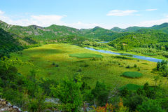 Rijeka Crnojevica, Skadar Lake. The Rijeka Crnojevica River, in the northern area of Skadar Lake National Park. Montenegro stock images