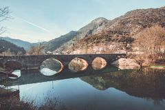 Rijeka Crnojevica village and bridge? stock image