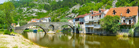 Rijeka Crnojevica. Walking along the Crnojevica river it's easy to find the great views and enjoy the lovely town of Rijeka Crnojevica, Montenegro royalty free stock photography