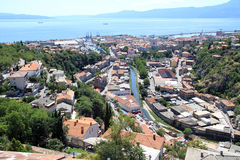 Rijeka in Croatia. View from Trsat castle on the roofs of Rijeka, Croatia royalty free stock image