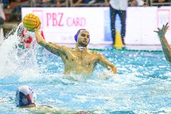 LEN Water Polo Europa Cup, Men`s SUPER FINAL, RIJEKA CRO. RIJEKA, CROATIA April 7: LEN Water Polo Europa Cup, Men`s SUPER FINAL, RIJEKA CRO. Croatia wins epic royalty free stock image