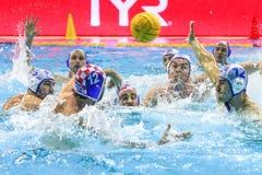 LEN Water Polo Europa Cup, Men`s SUPER FINAL 2018, RIJEKA CRO. RIJEKA, CROATIA April 7: LEN Water Polo Europa Cup, Men`s SUPER FINAL, RIJEKA CRO. Croatia wins Stock Photos
