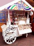 Rijeka, Croatia, December 9, 2018. Christmas decorated carts full with sugar candy cane. Traditional holiday custom food royalty free stock image