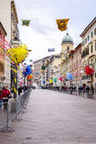 RIJEKA ,CROATIA - MARCH 02:main  street during the carnival parade in Rijeka, Croatia on March Royalty Free Stock Images