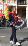 Drummer boy with drum on the street in the carnival parade royalty free stock images