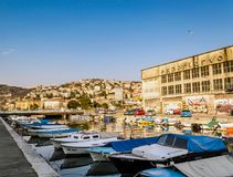 Rijeka, Croatia, Mrtvi kanal with some small boats anchored. River Rječina with some small boats anchored with WW2 Liberation monument in background, ad some royalty free stock photos
