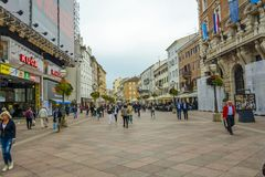 RIJEKA, CROATIA, OCTOBER 03, 2017: People walking and relaxing i stock images
