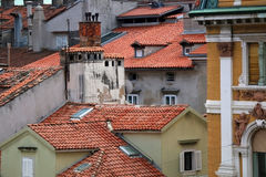Rijeka, Croatia. Old roofs and chimneys in Rijeka, Croatia. Selective focus. Rijeka is selected as the European Capital of Culture for 2020 royalty free stock photography