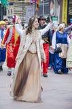 RIJEKA, KROATIË - MAART 02: de vrouw neemt bij de jaarlijkse Carnaval-parade in Rijeka, Kroatië op 02 Maart, 2014 deel Royalty-vrije Stock Foto's