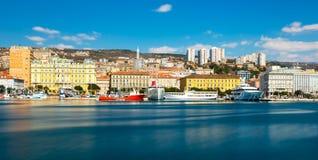 Rijeka, Croatia: Cityscape of Rijeka harbor royalty free stock photos